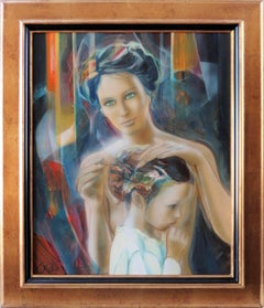 Mother and Daughter - Handsigned oil on canvas