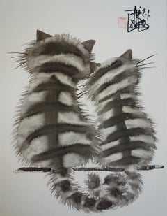 Couple of Loving Cats - Handsigned Original Ink Drawing