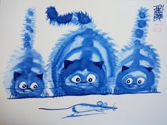 Cat, Kittens and Running Mouse - Handsigned Original Ink Drawing