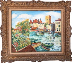 Nemours (Little Venice in France) - Original oil on canvas - Signed