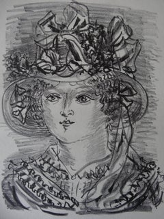 Woman with Funny Hat - Stone lithograph, 1930