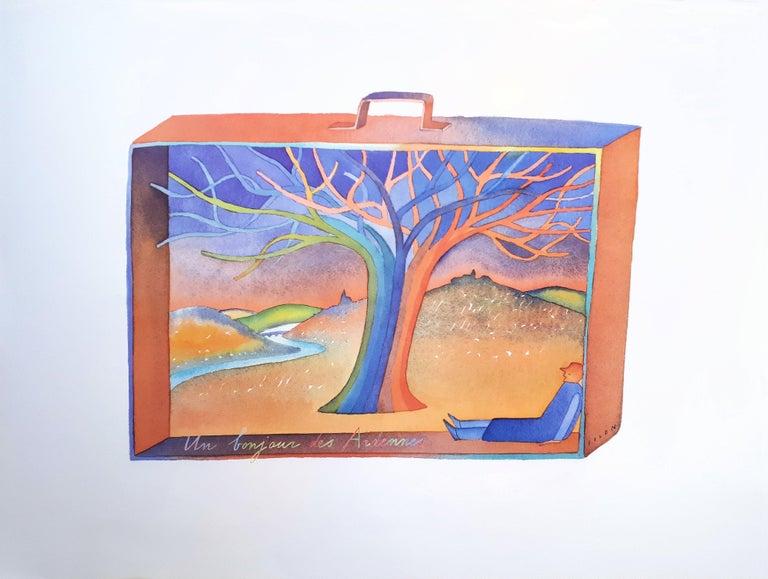 Ardennes, Dream in a Suitcase - Offset art print - Print by Jean Michel Folon