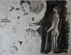 Studies of Toreador and Nude Woman - Lithograph