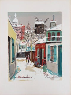 Montmartre : Sacre Coeur Church and Moulin under the Snow - Lithograph - 1965
