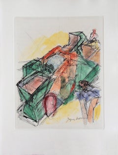 Cubist composition - Original Etching - 1965