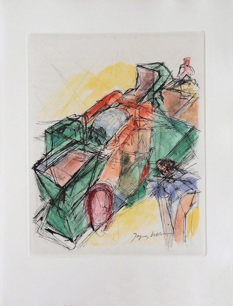 Cubist composition - Original Etching - 1965