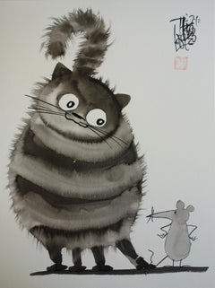My Big Cat with a Mouse - Handsigned Original Ink Drawing