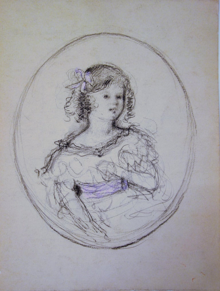 Young Girl with Pink Ribbon - Original Charcoals Drawing