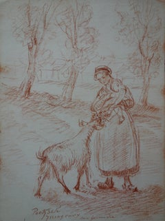 Woman, Baby and Goat - Original Signed Sanguine Pencil Drawing