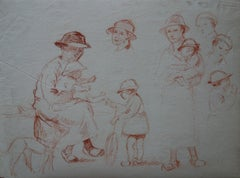 Family Playing in the Garden - Original Sanguine Pencil Drawing