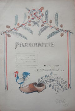 Study for a Celebration Menu - Original Signed Watercolor and Pencil Drawing