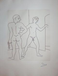 Entering the Sauna - Original etching - 1951