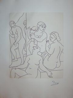 In the Women Cloakroom - Original etching - 1951