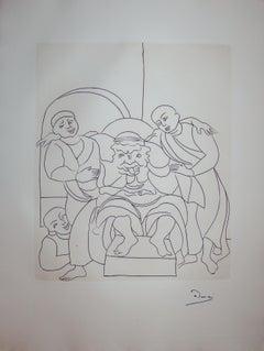 The Drunk King - Original etching - 1951