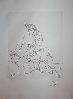A Proud Beautiful Woman - Original etching - 1951