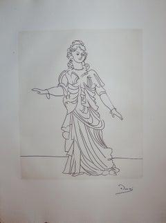 Beautiful Elegant Woman - Original etching - 1951