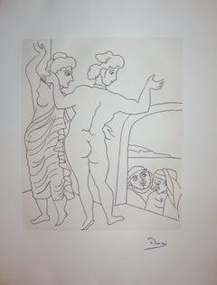 Two Nude Women Surprised - Original etching - 1951