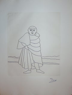 Priest in the Countryside - Original etching - 1951
