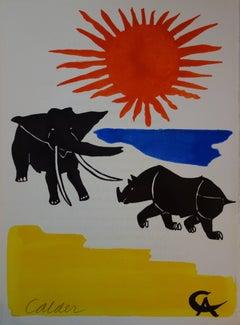 Elephant and Rhinoceros - Original handsigned lithograph - 1966