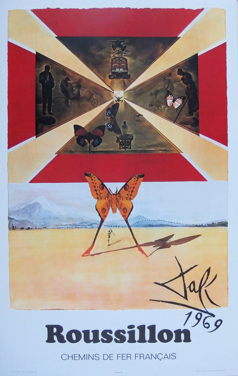 (after) Salvador Dali Figurative Print - Butterfly suite : Roussillon - Original lithograph - Tall size, 1969