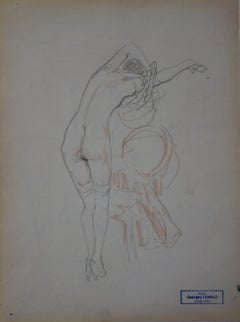 Woman Undressing - Pencil drawing - circa 1914