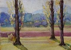 Spring : Trees near the Road - Original Watercolor