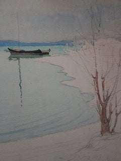 The Lake During Winter - Original Watercolor and Charcoals Drawing