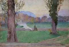 Countryside : Walkers Enjoying a Break Near a Fire - Original Signed Watercolor