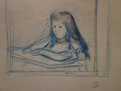 Young Girl Studying at the Table - Original Signed Pencil Drawing
