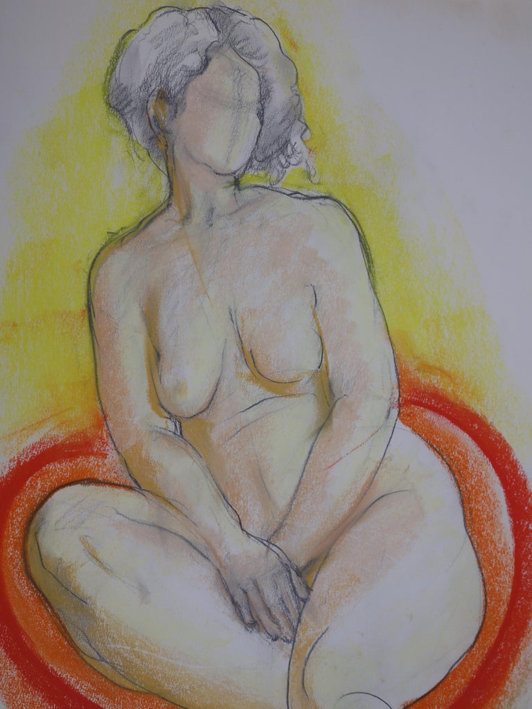 Gaston COPPENS (1909 - 2002) Nude Seated on Red Pillow  Original charcoal drawing Signed bottom left Stamp of the artist studio on the back On wove paper 41 x 32 cm (c. 16 x 13 inch)  Excellent condition  Gaston Coppens studied sculpture in the