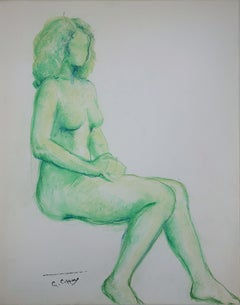 Nude in Green - Original charcoals drawing