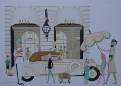 Mercedes Cabriolet 770 and HOTEL RITZ in PARIS - Signed lithograph - 115ex