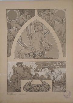 Women in the Garden - Lithograph 1902