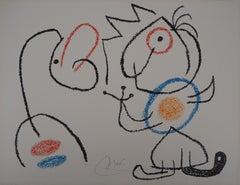 Ubu : King and Man Speaking - Original Handsigned Lithograph - Mourlot, 1971