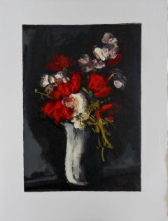 Wild Red and White flowers - Original woodcut on Arches Vellum