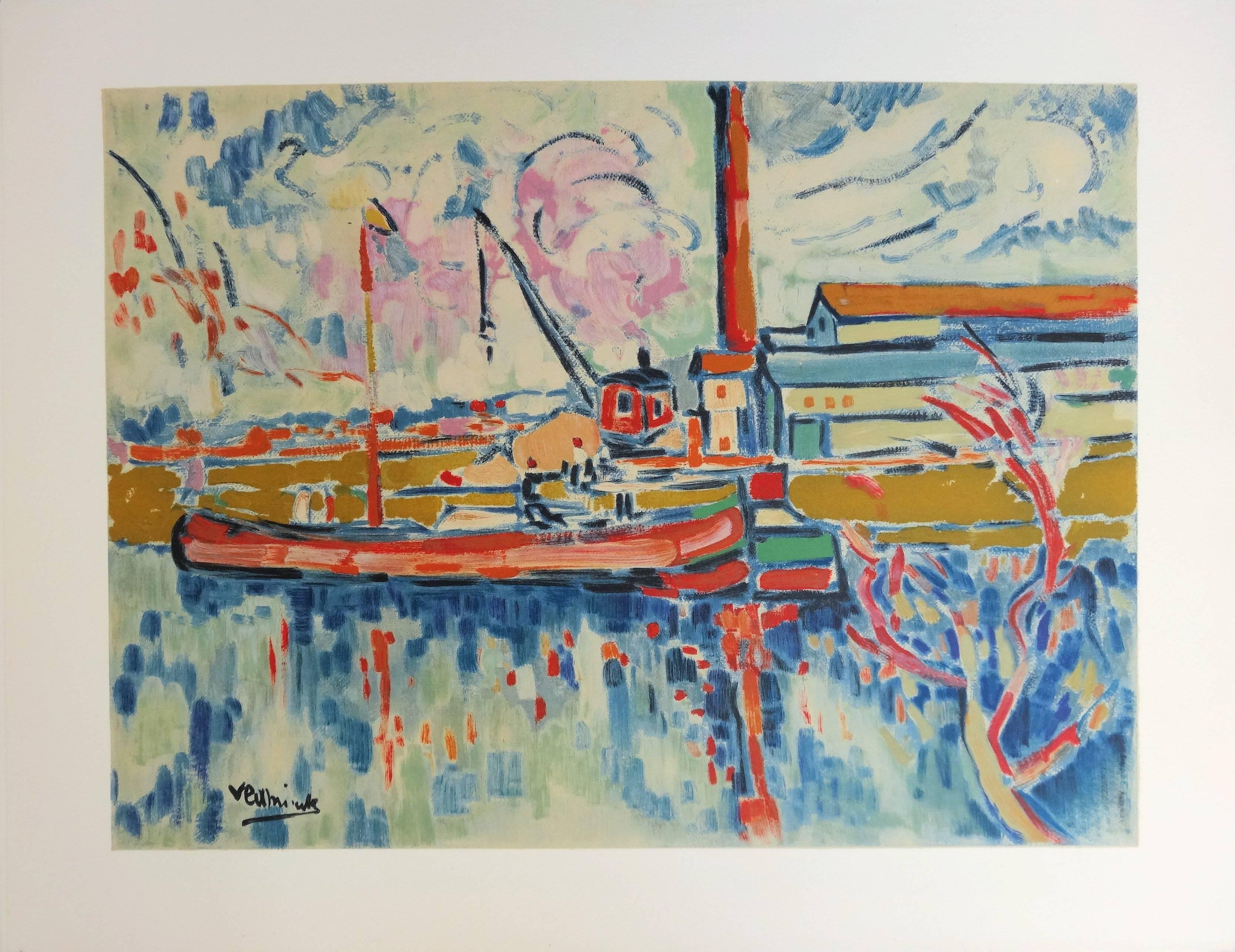 Seine River and Boat in Chatou - Lithograph, 1972