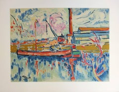 Seine River and Boat in Chatou - Lithograph, 1972