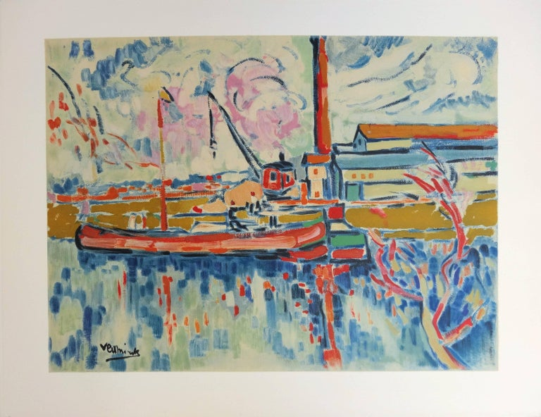 (after) Maurice de Vlaminck Landscape Print - Seine River and Boat in Chatou - Lithograph, 1972