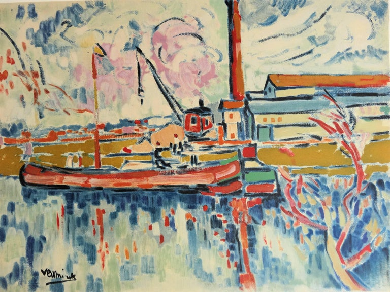 Seine River and Boat in Chatou - Lithograph, 1972 - Fauvist Print by (after) Maurice de Vlaminck