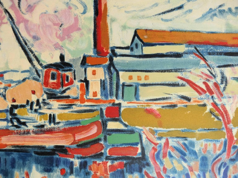 Seine River and Boat in Chatou - Lithograph, 1972 - Gray Landscape Print by (after) Maurice de Vlaminck
