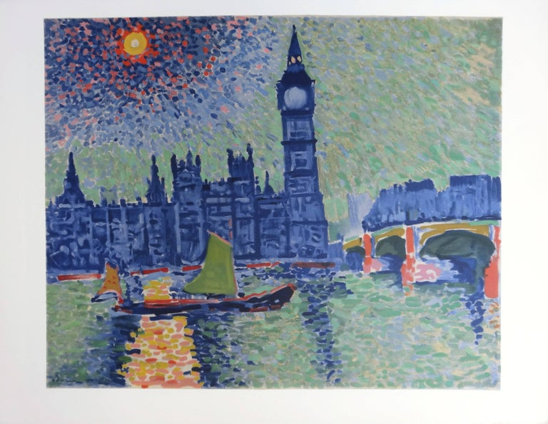 Andre DERAIN (after) London Viewed from the Thames  Color lithograph after a painting Printed signature in the plate On Arches Vellum 50 x 65 cm (c. 20 x 26 inch)  Excellent condition