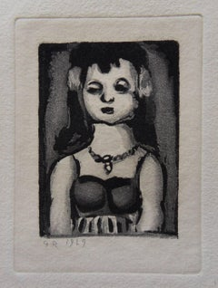 Woman with Flowers in the Hair - Original etching - 1929