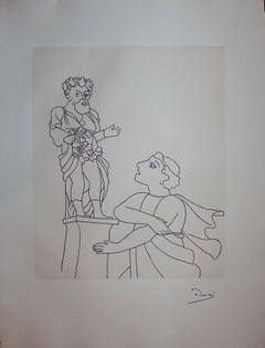 Prayer to a Divinity - Original etching - 1951