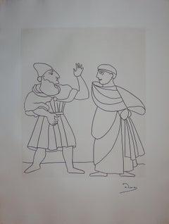 Two Men Discussing - Original etching - 1951
