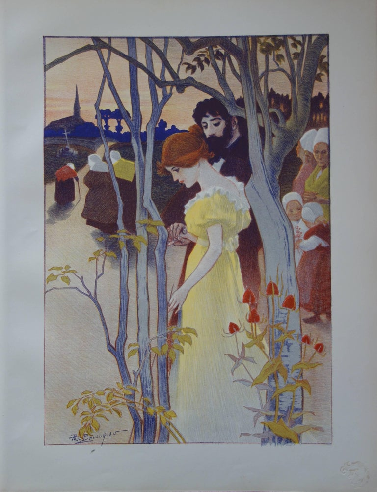 Paul Balluriau Figurative Print - Crépuscule (Twilight) - Original lithograph (1897/98)