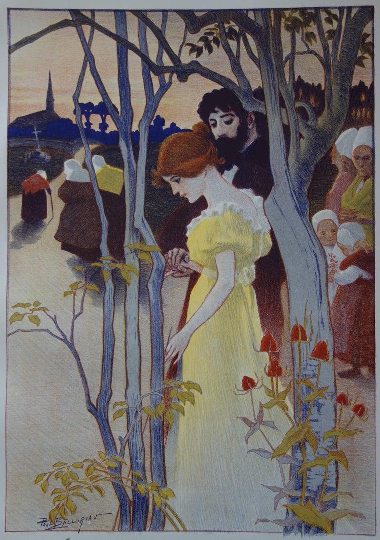 Crépuscule (Twilight) - Original lithograph (1897/98) - Art Nouveau Print by Paul Balluriau