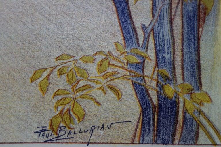 Crépuscule (Twilight) - Original lithograph (1897/98) - Gray Figurative Print by Paul Balluriau