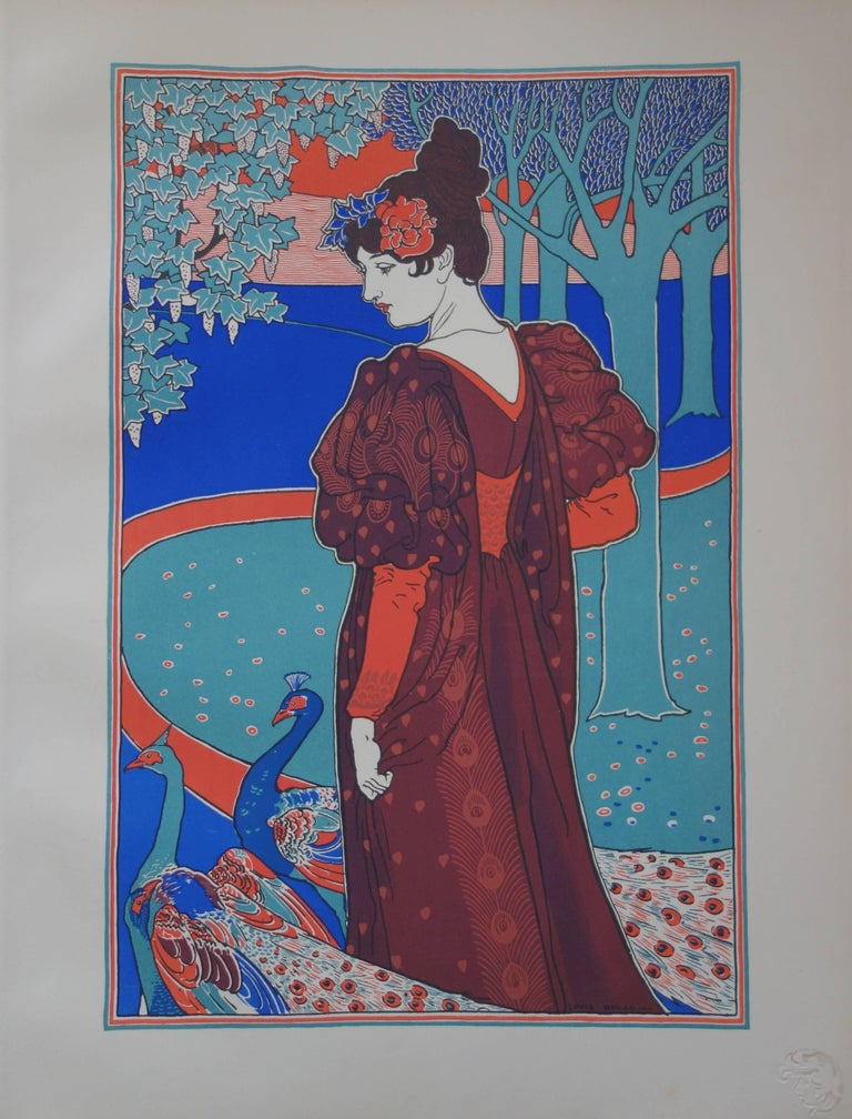 Louis Rhead Figurative Print - La Femme au Paon (Woman with a Peacock) - original lithograph (1897/98)