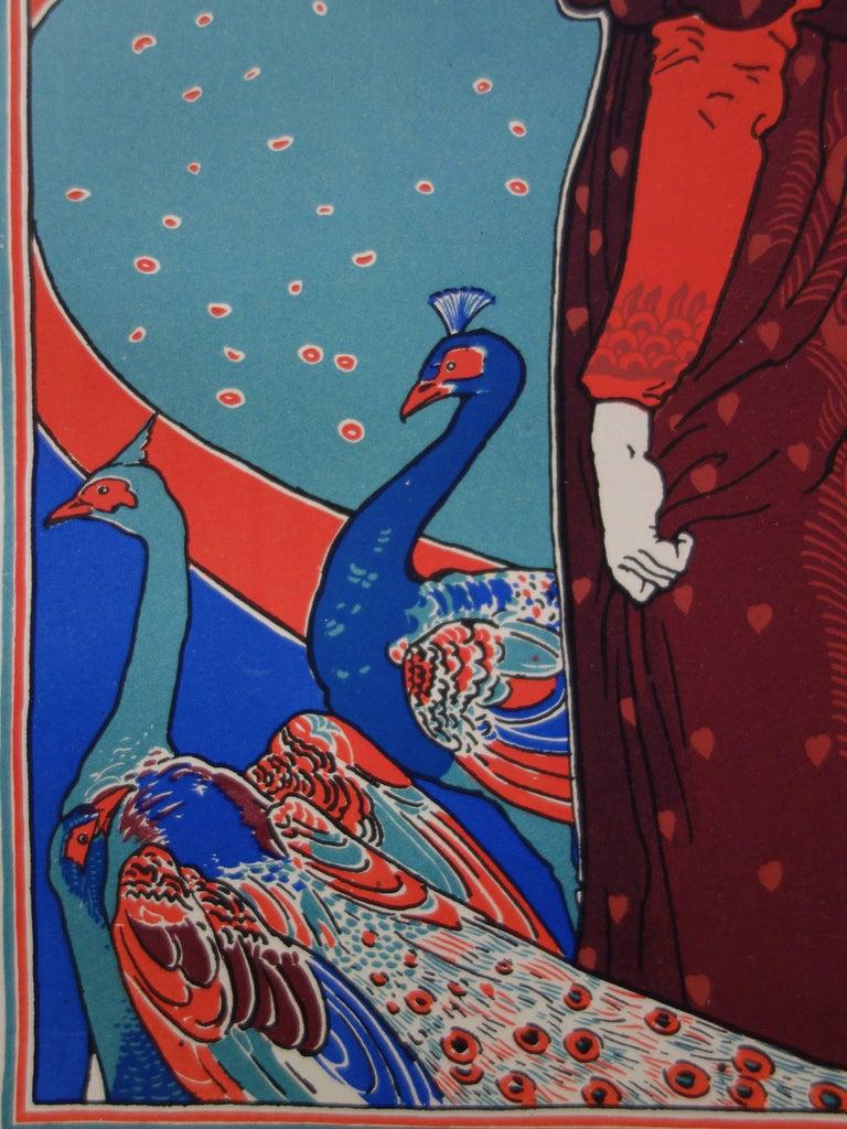 La Femme au Paon (Woman with a Peacock) - original lithograph (1897/98) - Print by Louis Rhead