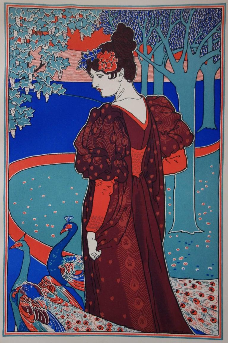 La Femme au Paon (Woman with a Peacock) - original lithograph (1897/98) - Art Nouveau Print by Louis Rhead